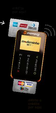 Moderninha Wifi do PagSeguro com dois tipos de leitores